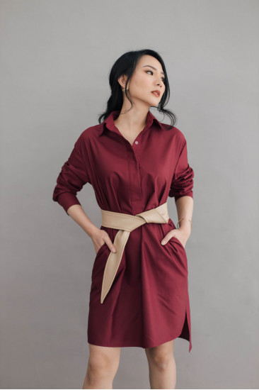 Faith Basic Shirt Dress in Cherry