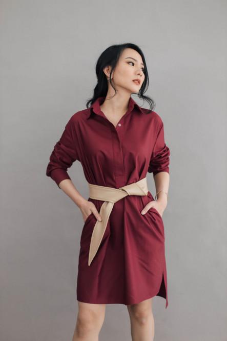 Faith Basic Shirt Dress in French Rose