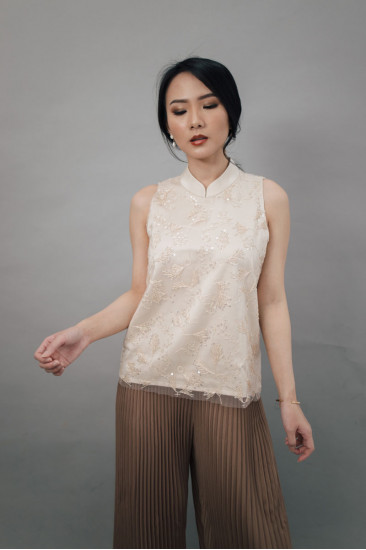 Kei Beaded Top in Nude