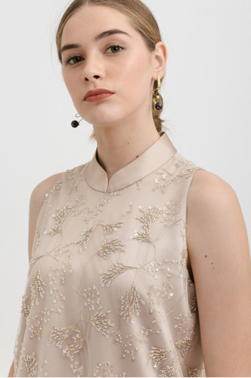 Kei Beaded Top in Champagne