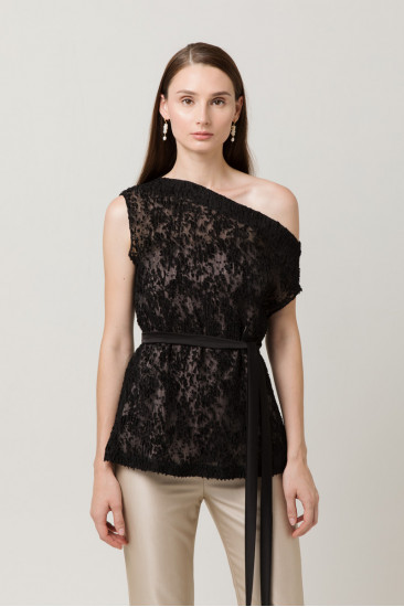 Loulou Off-shoulder Pleated Top in Black