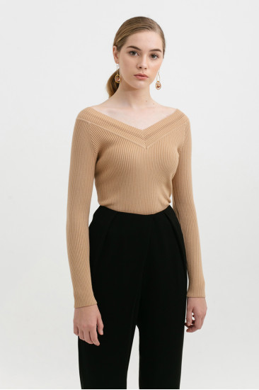 St. Clair Off-shoulder knit top in Camel