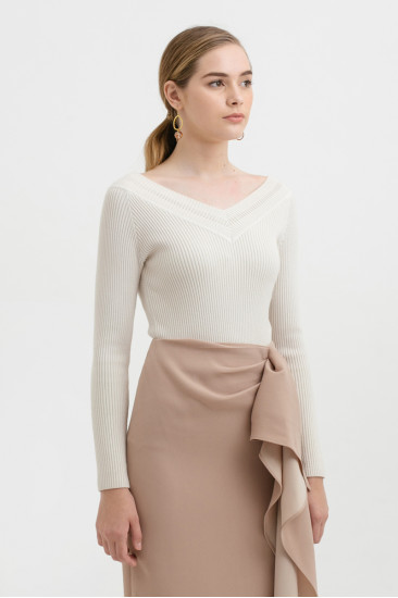 St. Clair Off-shoulder knit top in Creme