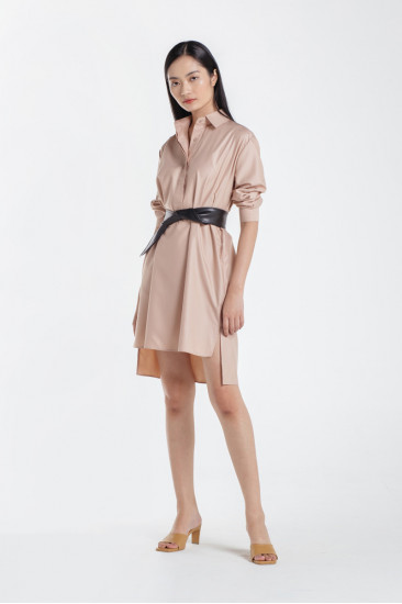 Faith Basic Shirt Dress in French Rose