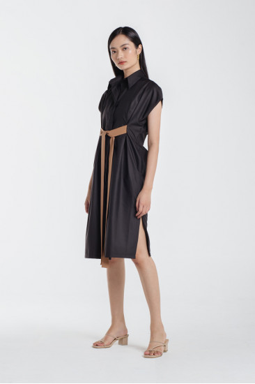 Devin Shirt Dress in Black