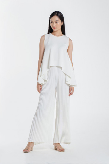 Paige Pleated Pants in White